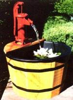 Redwood Barrel Mini Pitcher Pond Fountain